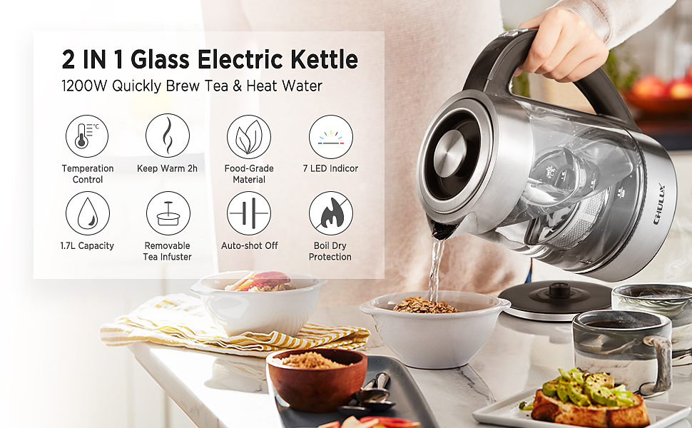 2 in 1 electric kettle with temperature control