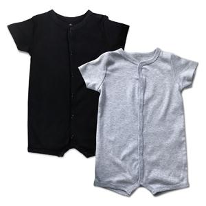 Black and Grey Short Sleeve Romper