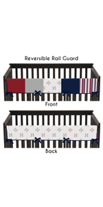 Red, White and Blue Long Front Crib Rail Guard Baby Teething Cover Protector Wrap for Baseball Patch