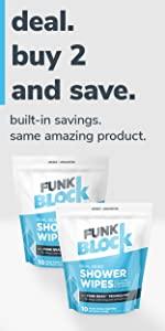 funkblock shower wipes