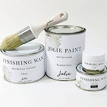 Jolie Paint Finishing Wax Topcoats Gilding Brushes Matte Finish Tools Furniture Cabinets Floors Wall