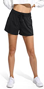 Women's Drawstring Athletic Workout Shorts Elastic Waist Running Lounge Activewear with Pocket