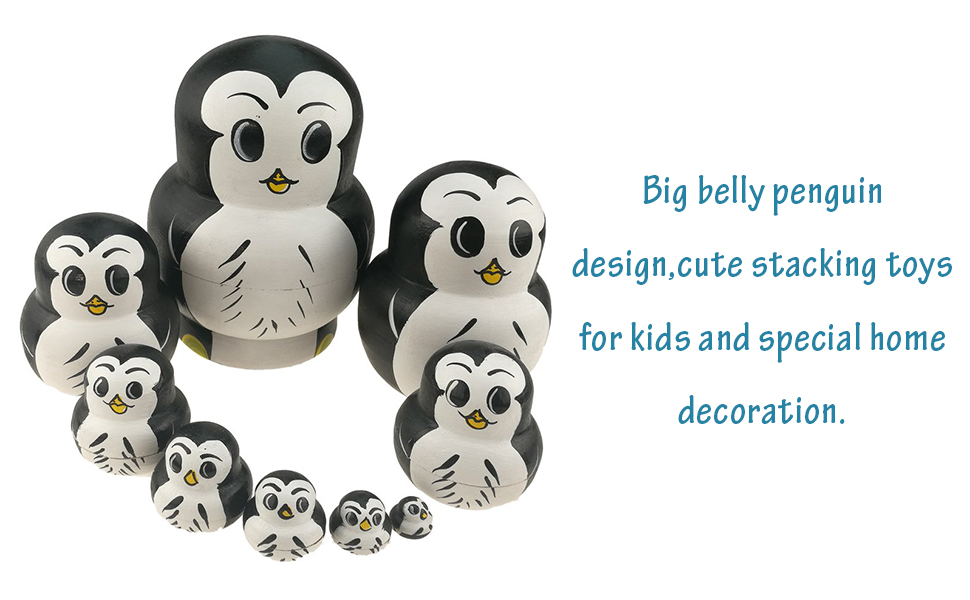 Set of 10 Big Belly Animal Penguin Wooden Handmade Nesting Dolls Matryoshka Russian Doll in a Exquisite Gift Box With Bow For Kids Toy Birthday Christmas New Year Gift Home Decoration