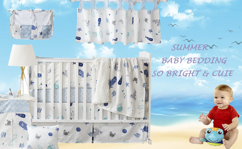 baby boys crib bedding set ocean animal beach theme