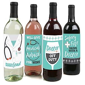 Medical School Grad Doctor Graduation Wine Bottle Labels