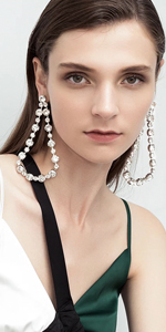 Silver Plated Clear Crystal Hollow Out Water Drop Earrings Wedding Fashion Jewelry
