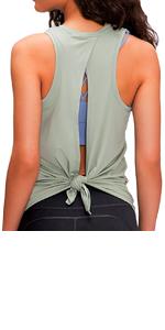 Yoga Tanks Top Open Back Tie up