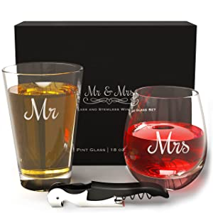 Mr and Mrs Beer and Wine Glasses