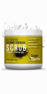 Sage Organic Facial Scrub Organic Natural Activated Charcoal Deep Cleanse Exfoliate Acne Blackhead