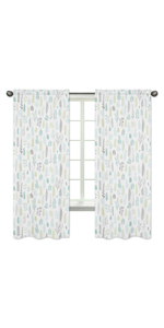Sweet Jojo Designs Blue and Grey Tropical Leaf Window Treatment Panels Curtains - Set of 2