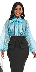 Women's Bowtie Neck Striped See Through Blouse Long Sleeve Button Down Shirt