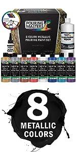 8 Metallic Color Ready to Pour Acrylic Pouring Paint Set