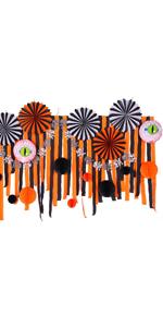 Halloween Party Decorations Kit Crepe Paper Streamers Black Orange Color