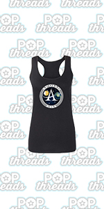 Pop Threads NASA Approved Space Program Logo Retro Graphic Fashion Tank Top Tee for Women
