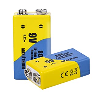 9v Batteries Lithium-ion Rechargeable With charger