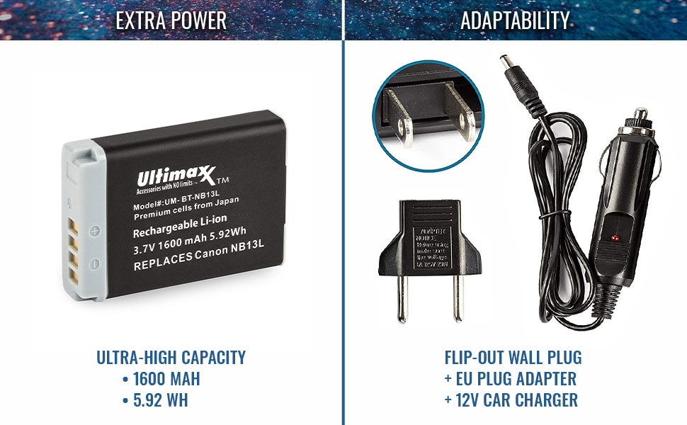 Ultimaxx nb-13l batteries high capacity power adaptability folding plug eu adapter car charger