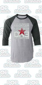 Superhero Movie Comic Book Costume I Love You 3000 Raglan Baseball Tee Shirt
