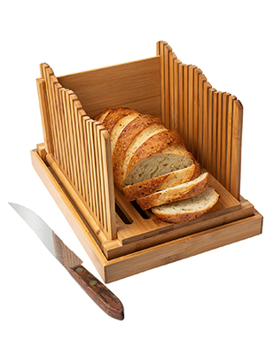 bread slicers homemade slice holder bamboo loaf cutting foldable manual toast board chopping knife
