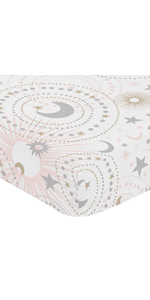 Blush Pink, Gold, Grey and White Star and Moon Baby or Toddler Fitted Crib Sheet for Celestial