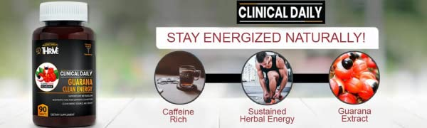 CLINICAL DAILY Guarana energy supplement for mind focus clarity alertness. Coffee alternative