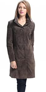 BGSD Women's Aubrey Suede Leather Walking Coat