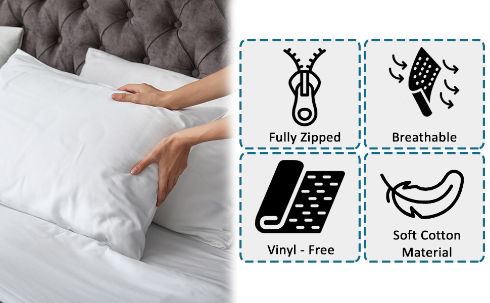 Our pillow protector is made of durable cotton material