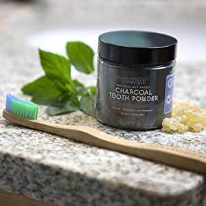 tooth powder activated charcoal carbon teeth whitening stain removal natural safe bemndful invitamin