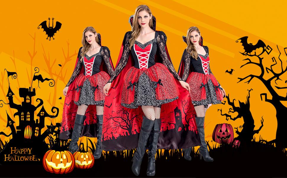 Women Halloween Costume Vampire Dress