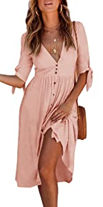 Button Down Pleated Swing Dress