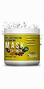 Sage Organix Facial Mask Organic Natural Collagen Deep Cleanse Exfoliate Pore Acne Blemish Blackhead