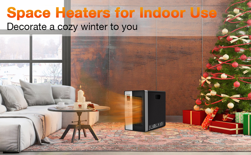 Space Heaters for Indoor Use Room Heater with Remote Control Tip-Over Overheat Protection Low Noise