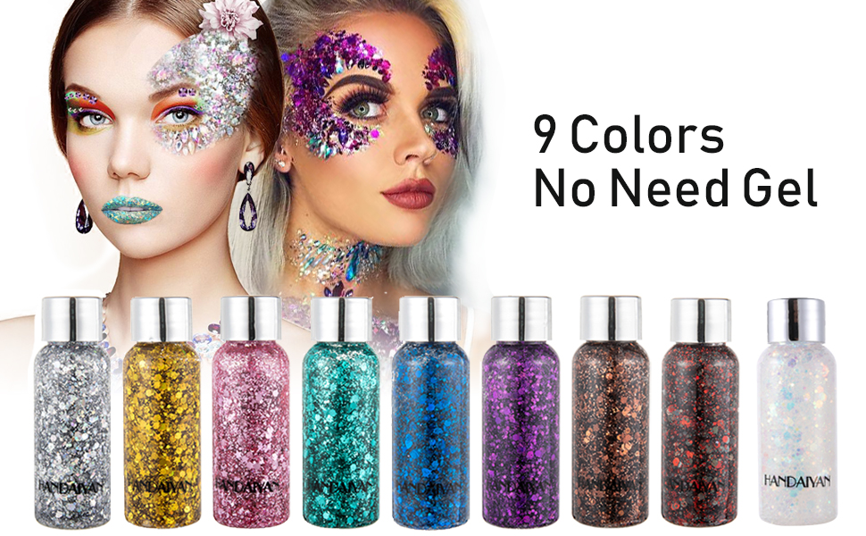 face chunky glitter silver pink green gold