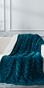teal green blue mermaid scales forest super soft throw blanket faux fur fleece sherpa warm cozy gift