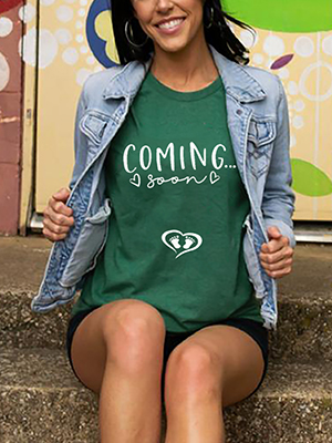 Coming Soon Pregnancy Announcement T Shirt for Women New Mom Shirt Letter Print O Neck Top Tee