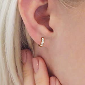 Hypoallergenic Huggie Hoop Earrings - 925 Sterling Silver Endless Round Tiny Small Ear Cuff Sleepers