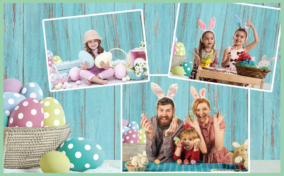 Funnytree Spring Happy Easter Blue Rustic Wood Floor Backdrop for Photography