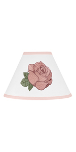 Vintage Floral Boho Lamp Shade - Blush Pink, Green and Whit