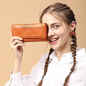 APHISON Ladies Soft Leather RFID Long Wallet