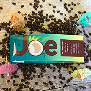 Colorful package. Toasted coconut flavored ground coffee