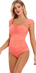 Women's Shirred Straps Tummy Control Swimsuit