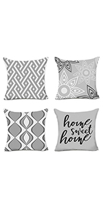 Grey Decorative Pillow Covers