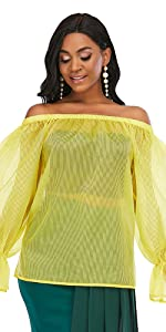 Women's Yellow Off Shoulder Striped See Through Top Long Sleeve Blouse