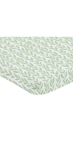Green and White Leaf Floral Girl Baby Nursery Fitted Mini Portable Crib Sheet For Mini Crib
