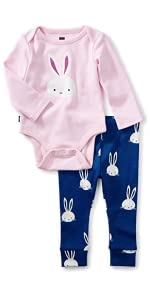 2-Piece Bodysuit Baby Outfit, Pink Crepe, Bunny with Pink Top and Blue Pants