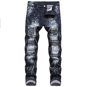 Men's Super Comfy Stretch Skinny Blue Biker Denim Jeans Pants