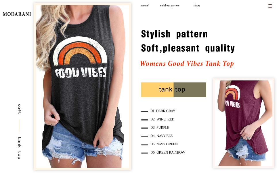 MODARANI Womens Good Vibes Tank Tops Casual Sleeveless Shirts Rainbow T Shirt