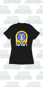 Pop Threads NASA Approved Space Program Logo Retro Graphic Graphic Tee T Shirt for Women