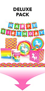 Silver Lining Rainbow Unicorn Deluxe Pack Paper Plates Cups Napkins and Table Cover LGBTQ