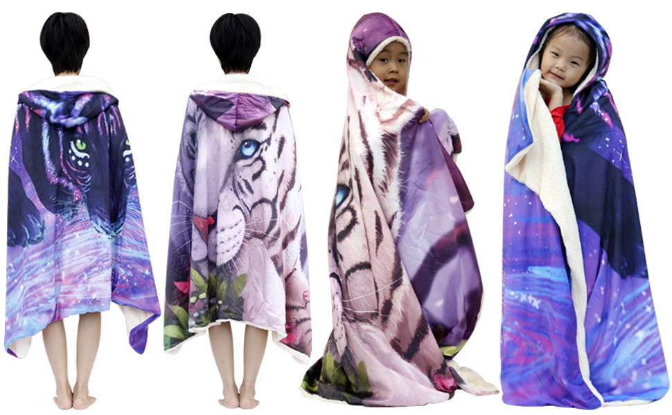 SKOLOO Soft Wearable Blanket for Kids Adults Warm Hooded Blanket Hoodie Plush Blanket Tiger Pattern