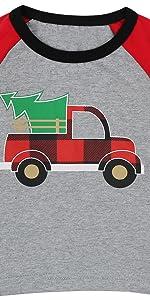 圣诞小孩格纹卡车T恤
